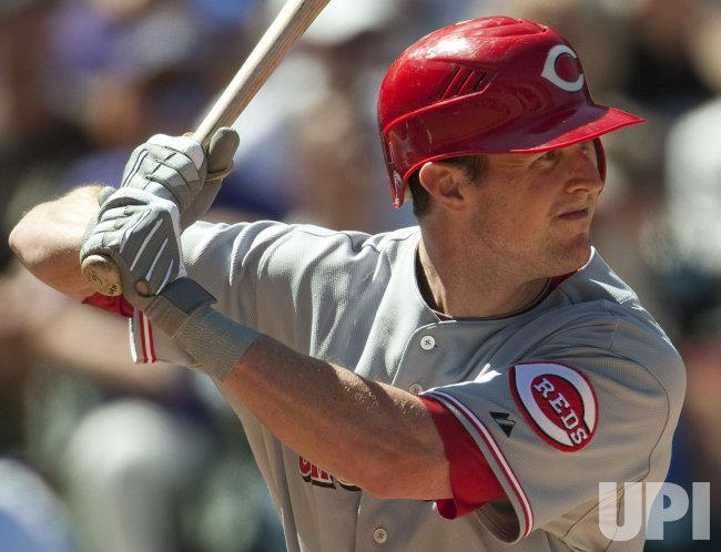 Reds Stubbs Bats Against the Rockies in Denver