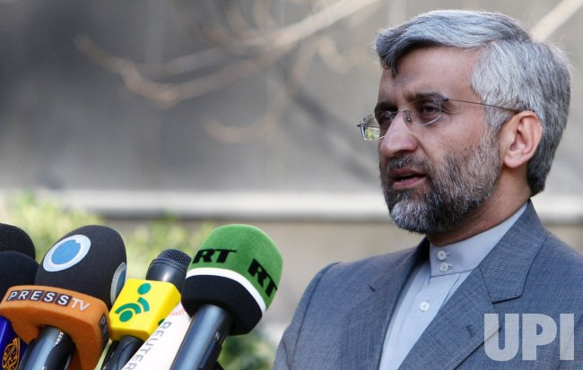 Iran's top nuclear negotiato Saeed Jalili holds a press conference in Tehran