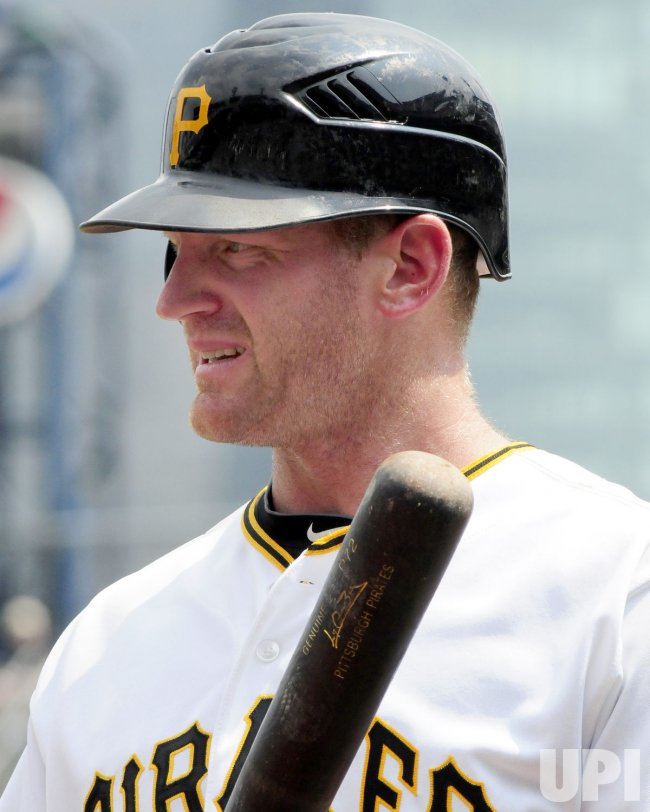 Pirates Overbay examines bat in Pittsburgh