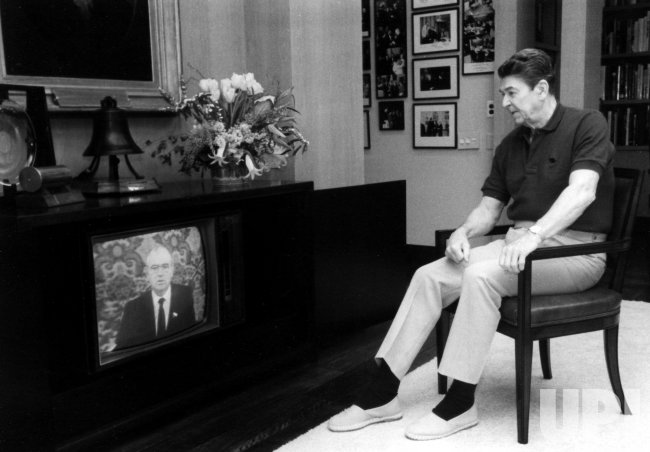President Ronald Reagan Watches Mikhail Gorbachev on TV