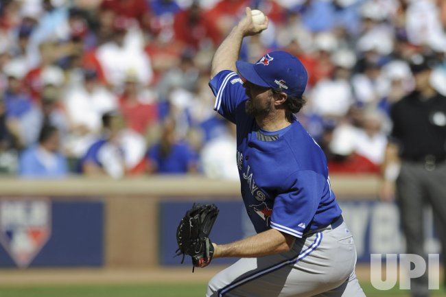 Toronto Blue Jays' pitcher R.A. Dickey pitches against the Texas Rangers