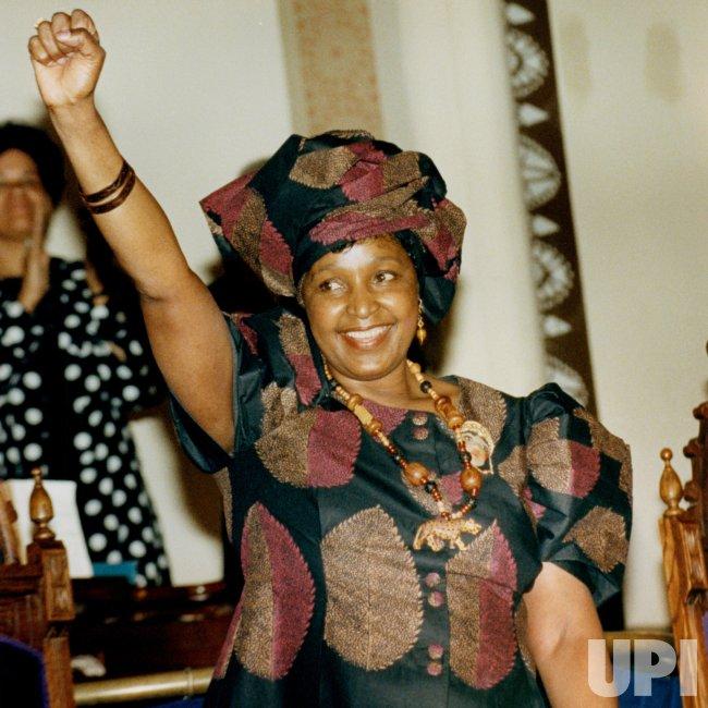 Winnie Mandela Salutes Crowd