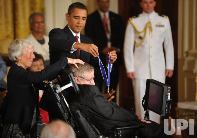 President Obama presents the Presidential Medal of Freedom to Stephen Hawking in Washington