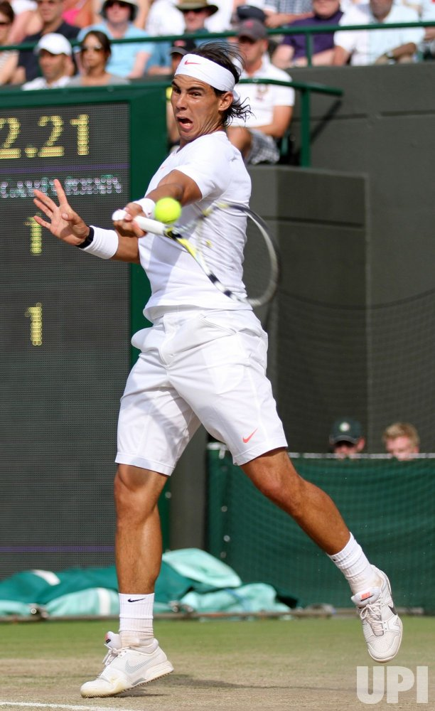 Spain's Rafael Nadal plays against Sweden's Robin Soderling at the Wimbledon Championships