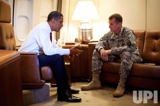 U.S. President Obama meets with Army Gen. McChrystal in Denmark
