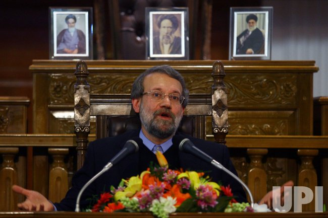 Iranian Parliament Speaker Ali Larijani discusses nuclear issues in Tehran