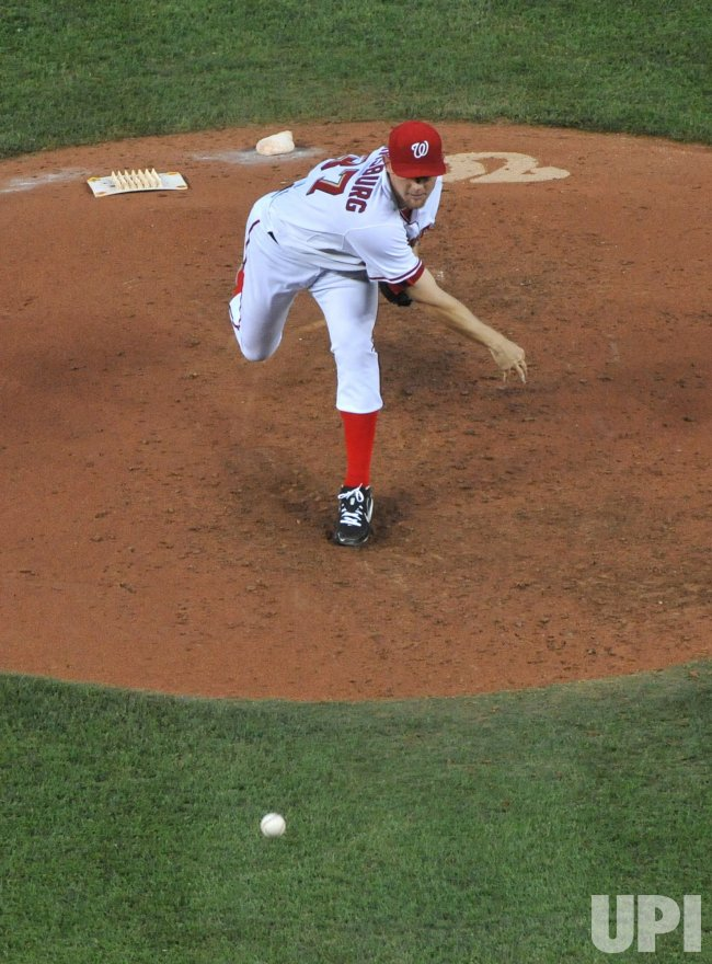 Washington Nationals' pitcher Stephen Strasburg pitches against the Pittsburgh Pirates in Washington