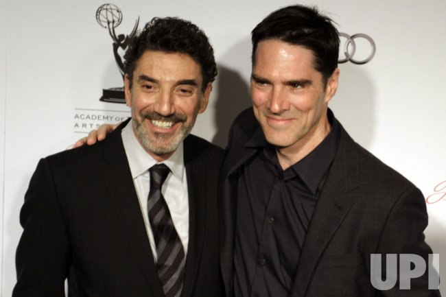 Producer Chuck Lorre and actor Thomas Gibson arrive for the Academy of Television Arts & Sciences 21st Annual Hall of Fame Ceremony in Beverly Hills