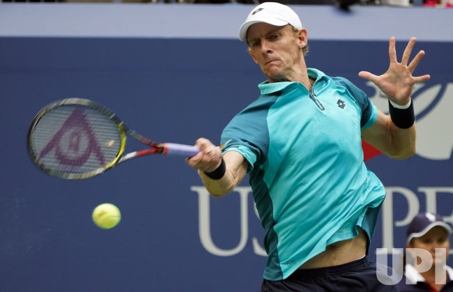 Kevin Anderson of South Africa plays at the US Open