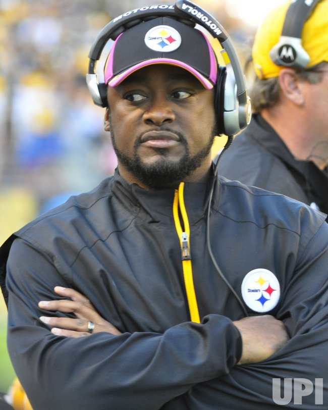 Pittsburgh Steelers Head Coach Mike Tomlin Watches from Sideline in Pittsburgh