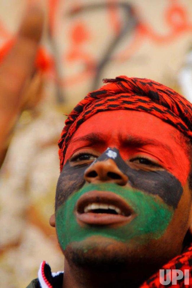 Libyans demonstrate for removal of Gaddafi in Benghazi, Libya