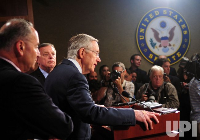 Senate Majority Leader Harry Reid attends a press conference on the debt debate in Washington