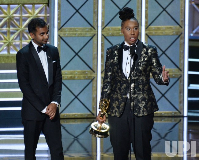 Aziz Ansari and Lena Waithe onstage at the 69th annual Primetime Emmy Awards in Los Angeles