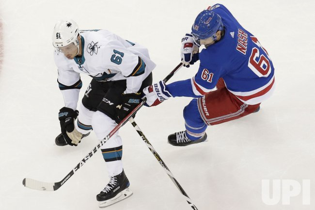 Rangers Rick Nash and San Jose Sharks Justin Braun