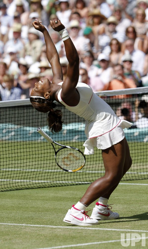 Willims celebrates matchpoint in the final at the Wimbledon Championships