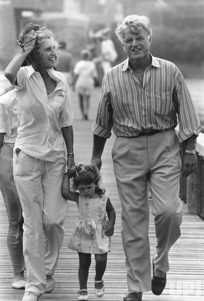 Ted Kennedy with Eunice Kennedy Shriver and her daughter Rose in Hyannis Harbor