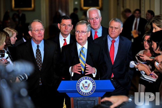 Senate Minority Leader Mitch McConnell speaks on the debt ceiling in Washington