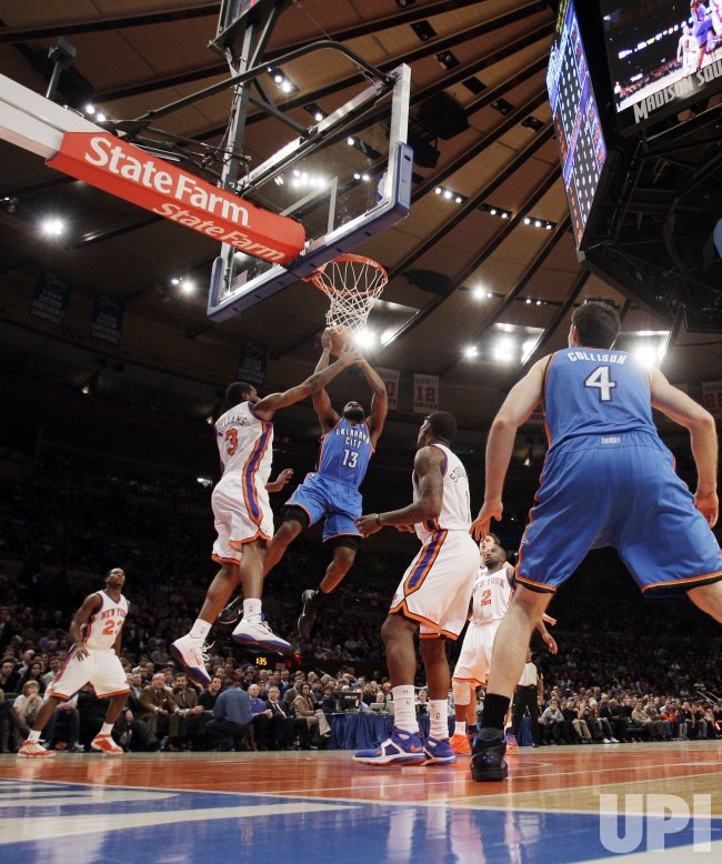 Oklahoma City Thunder James Harden at Madison Square Garden in New York