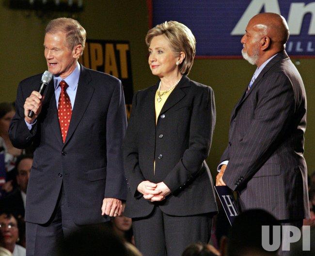 Hillary Clinton celebrates winning the Florida primary election