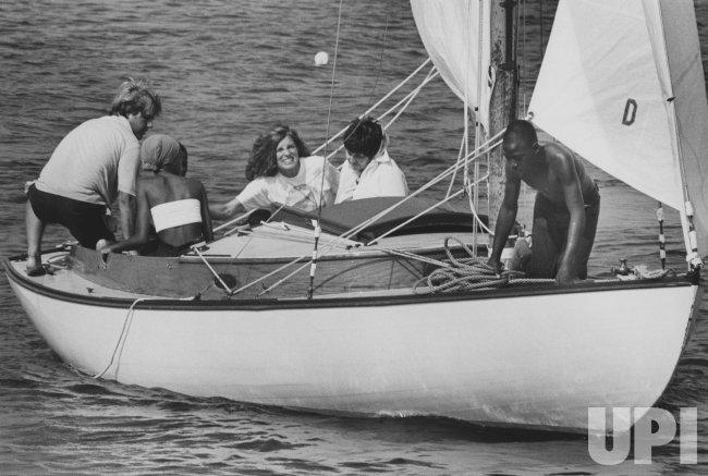 Eunice Kennedy Shriver on sailboat with inner city children