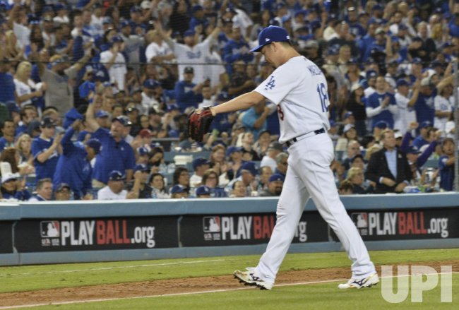 Maeda retires side in MLB National League Division Series Nationals at Dodgers in Los Angeles