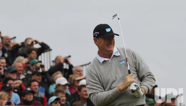 Ernie Els tees off on the 6th hole during the Open Championship in England.