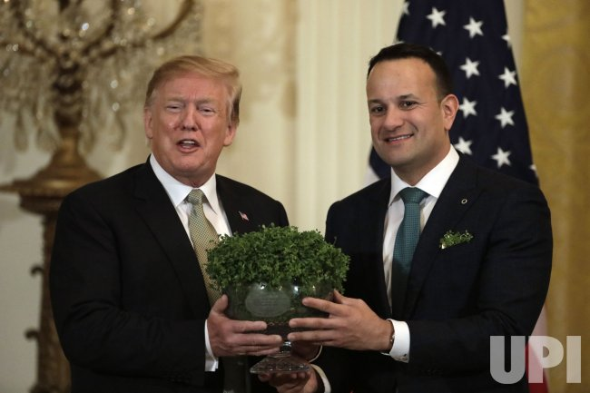 President Donald Trump participate in the Shamrock Bowl Presentation by the Prime Minister of Ireland