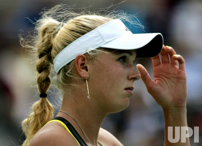 Caroline Wozniacki and Vera Zvonareva play semi- final match at the U.S. Open in New York