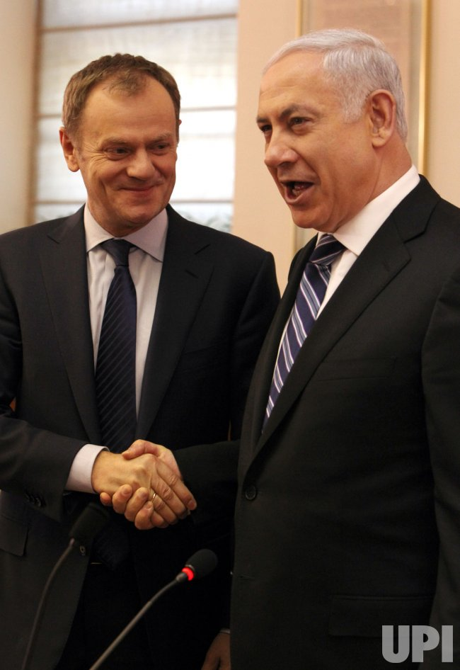 Polish Prime Minister Donald Tusk in Jerusalem with Israeli Prime Minister Benjamin Netanyahu in cabinet meeting