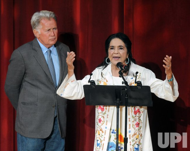 Dolores Huerta speaks at her 80th birthday celebration in Los Angeles