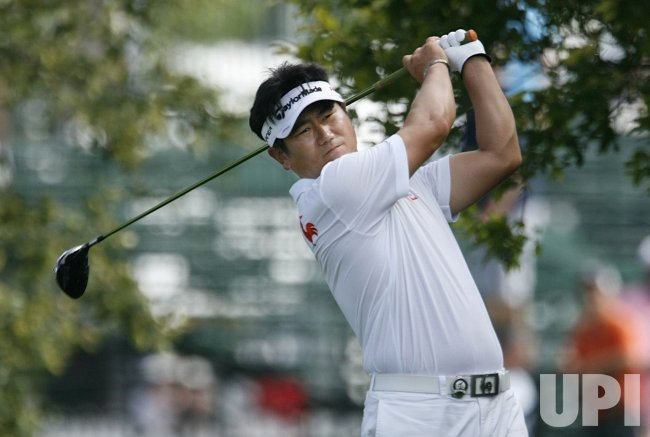 Y. E. Yang tees off on the ninth hole during the final round of the 91st PGA Championship in Chaska, Minnesota