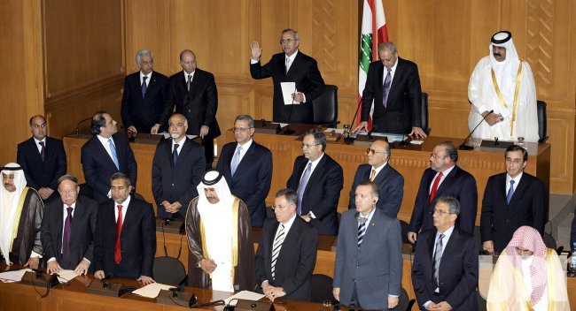 Michel Suleiman takes the presidential oath in Lebanon