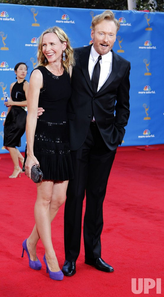 Conan O'Brien and his wife Liza arrive at the 62nd Primetime Emmy Awards in Los Angeles
