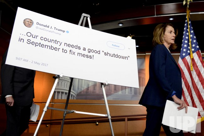 Pelosi holds briefing as government shutdown looms