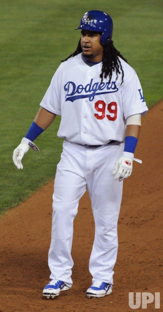 Manny Ramirez makes debut as Los Angeles Dodger in Los Angeles