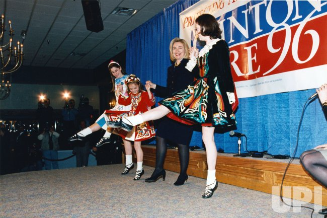 First Lady Hillary Clinton receives Irish dancing lesson