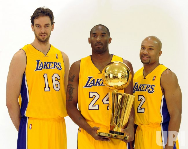Pau Gasol, Kobe Bryant and Derek Fisher participate in Lakers media day in El Segundo, California