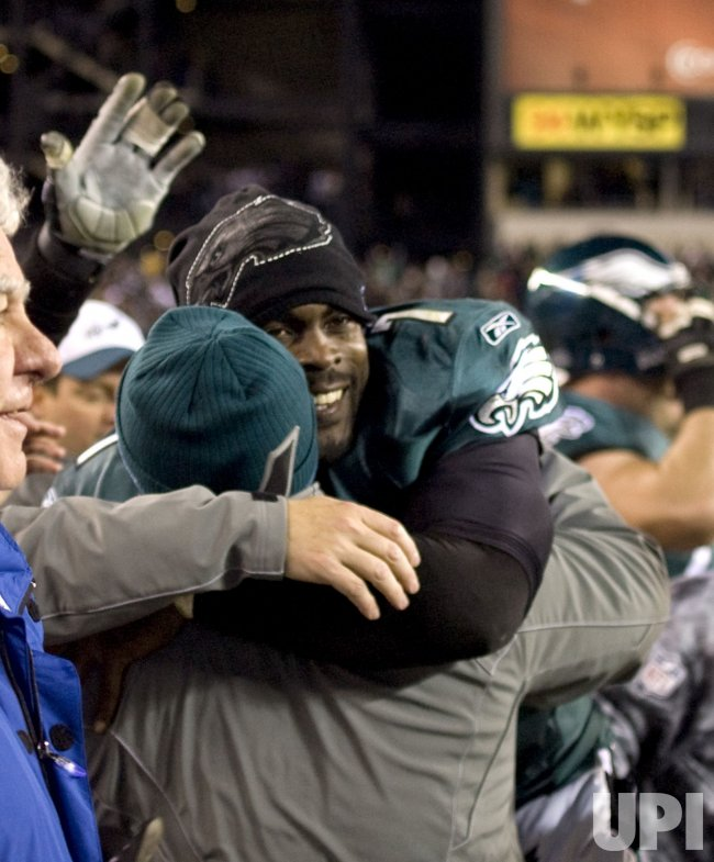 Philadelphia Eagles quarterback Michael Vick celebrates game winning interception n the 4th quarter