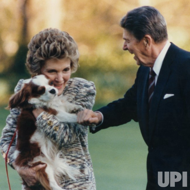 President and Nancy Reagan Hug Dog Rex