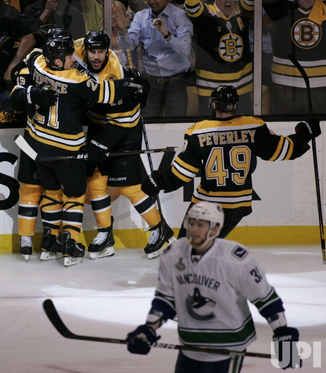 Bruins Lucic celebrates goal against Canucks in game 6 of the NHL Stanley Cup Finals in Boston, MA.