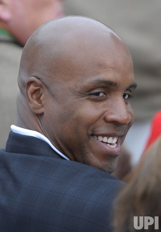 Barry Bonds attends the opening ceremony of the Presidents Cup in San Francisco