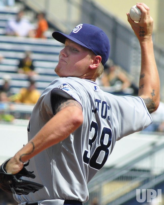 Padres satarting pitcher Mat Latos in Pittsburgh