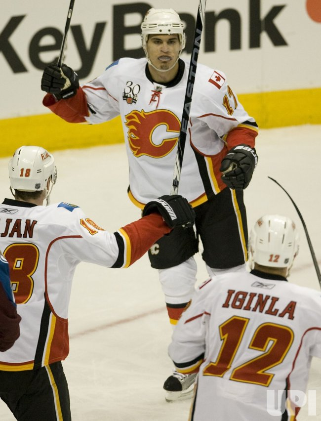 Flames Bourque Celebrates Scoring Against the Avalanche in Denver