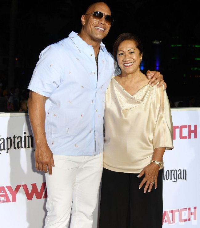 Dwayne Johnson and Ata Attend the US Premiere of Baywatch in Miami Beach, Florida