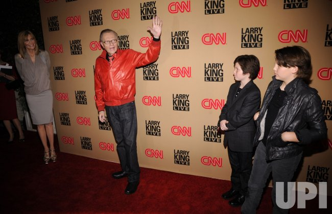 Larry King with wife Shawn Southwick and sons Chance and Cannon attend a party for Larry King's final daily broadcast on CNN held in Beverly Hills, California