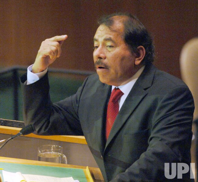 PRESIDENT DANIEL ORTEGA SAAVEDRA OF NICARAGUA ADDRESSES THE UNITED NATIONS GENERAL ASSEMBLY IN NEW YORK