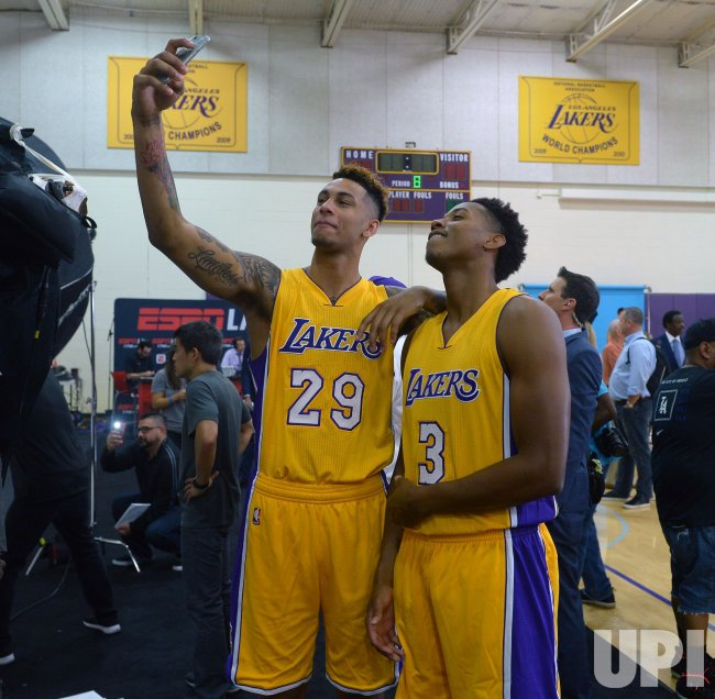 Zach Auguste and Larry Nance Jr participate in Lakers media day
