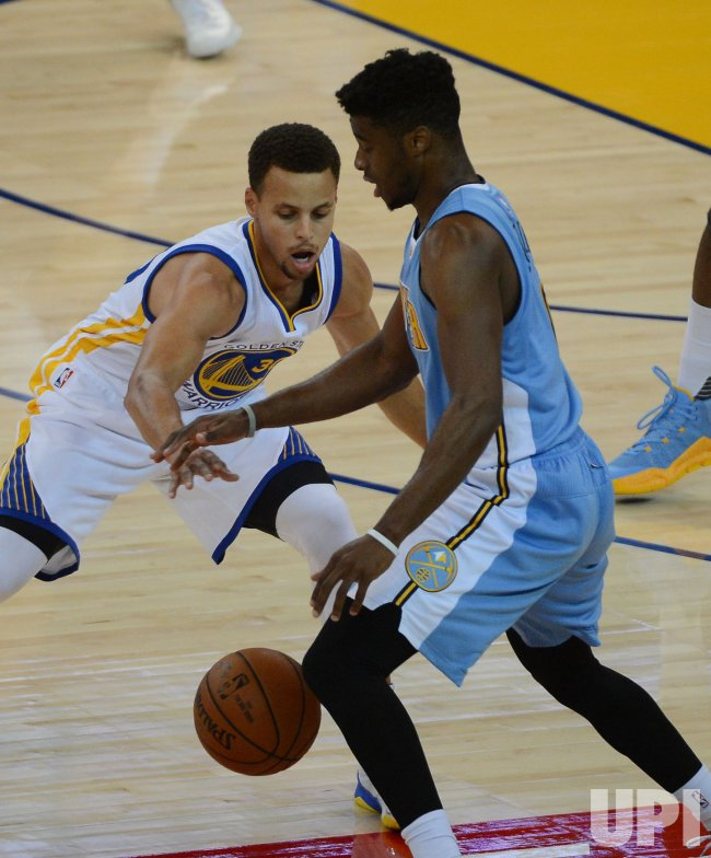 Warriors Stephen Curry Steals A Nuggets Ball