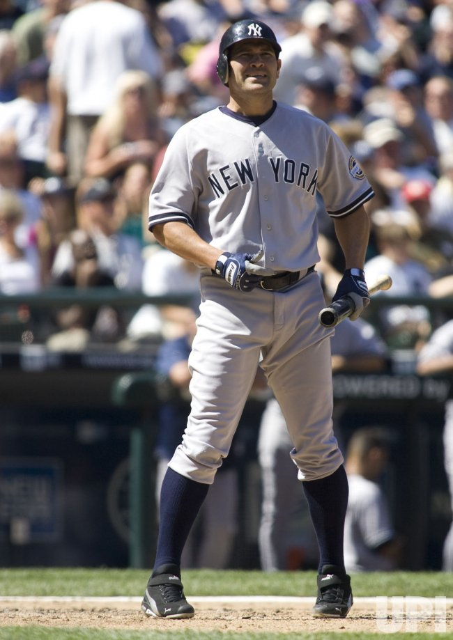 New York Yankees' Johnny Damon reaction to hitting a foul ball against the Seattle Mariners in the fifth inning at SAFECO Field in Seattle.