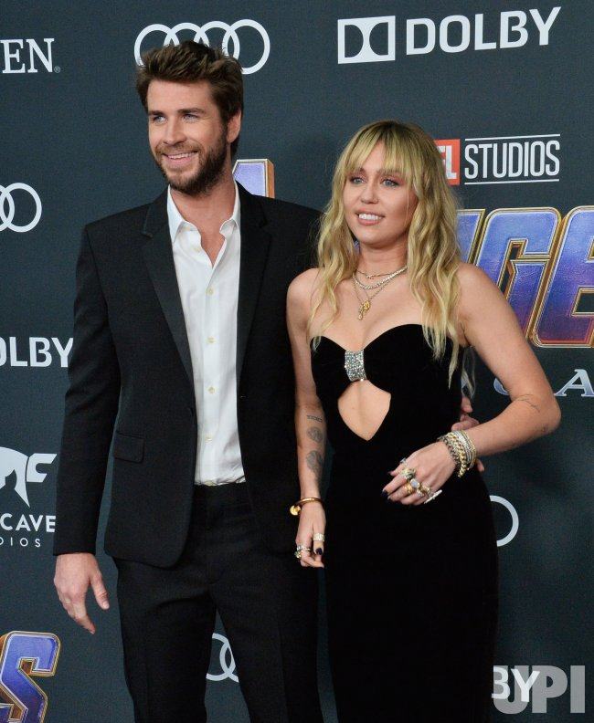 """Liam Hemsworth and Miley Cyrus attend """"Avengers: Endgame"""" premiere in Los Angeles"""